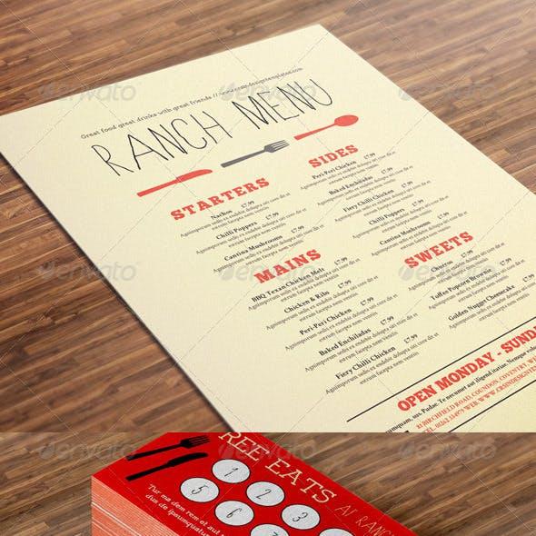 Restaurant Menu, Loyalty Card and Gift Voucher