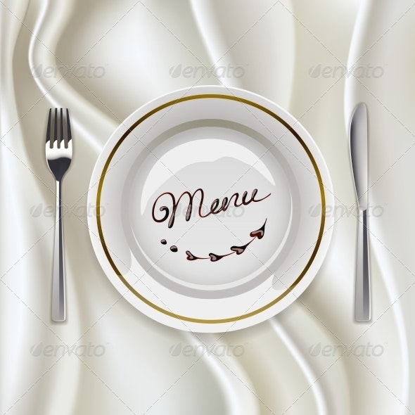 Plate with Cutlery on Glossy Tablecloth - Conceptual Vectors