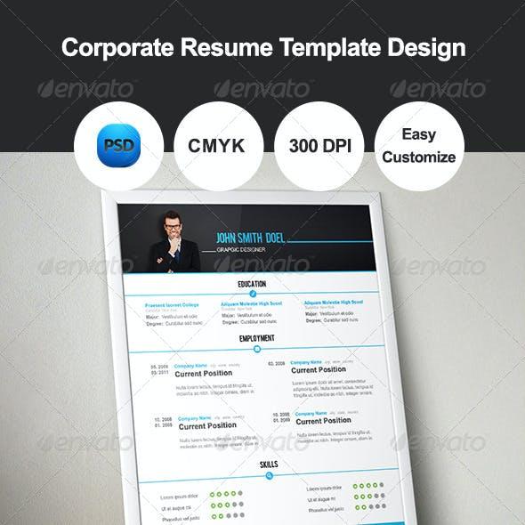 Corporate Resume Template Design