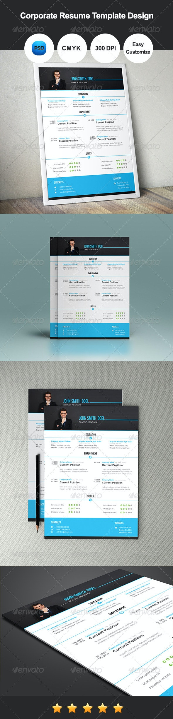 Corporate Resume Template Design - Resumes Stationery