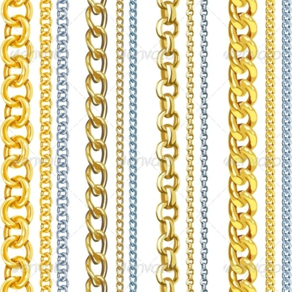 Set of Realistic Gold and Silver Chains