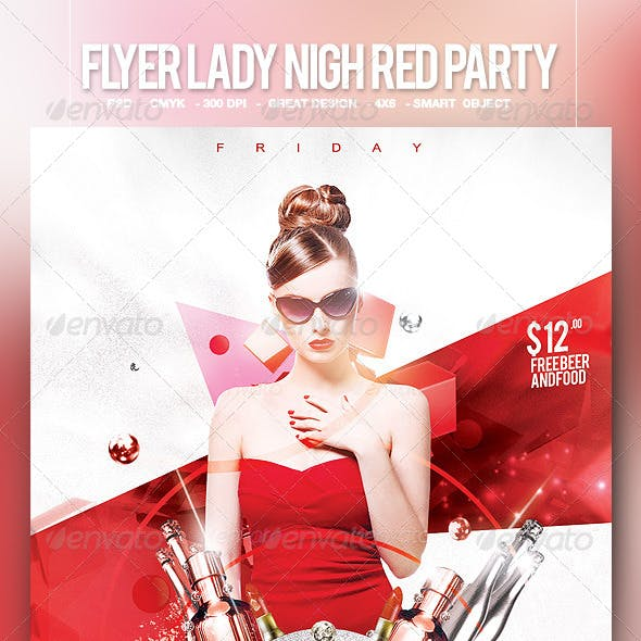 Flyer Lady Night Red Party