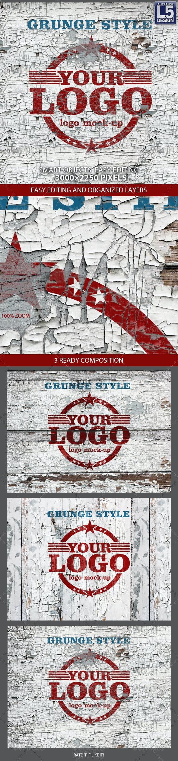 Grunge Wall Logo Mock-up - Logo Product Mock-Ups