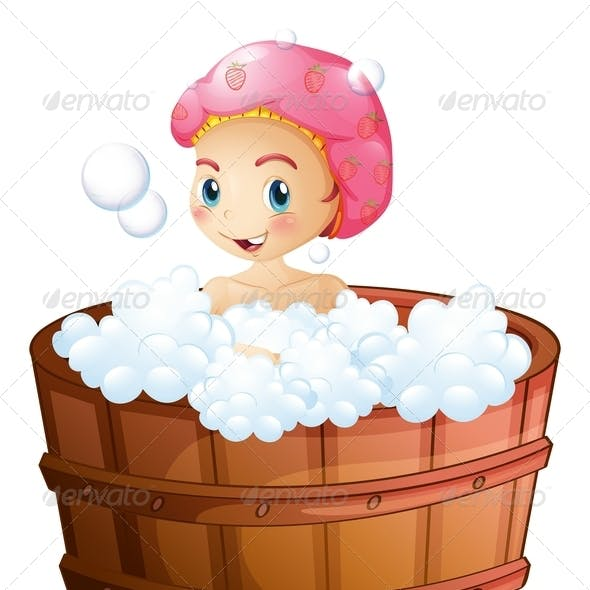 Smiling Girl Taking a Bath