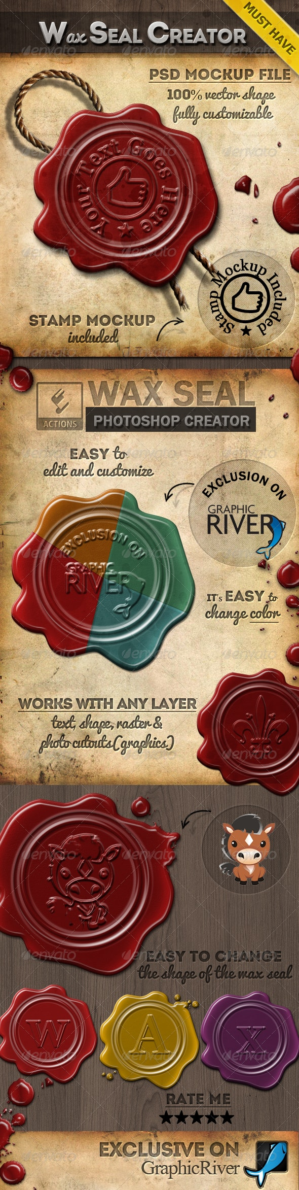 Wax Stamp Seal Photoshop Creator - Utilities Actions