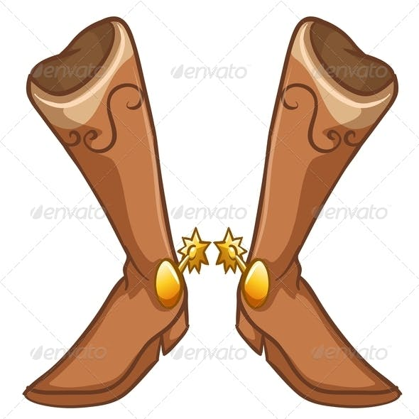 A pair of boots with a gold design