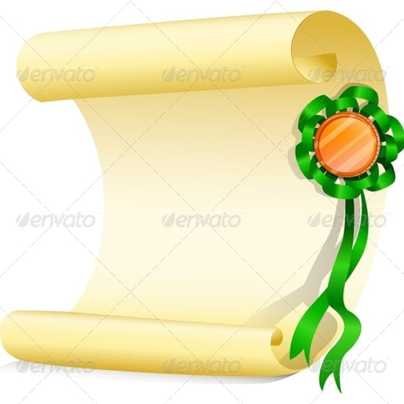 Empty Paper with Green Ribbon