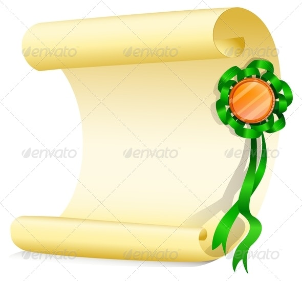Empty Paper with Green Ribbon - Borders Decorative