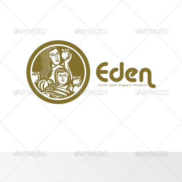 Eden Fresh Organic Local Produce Logo Retro