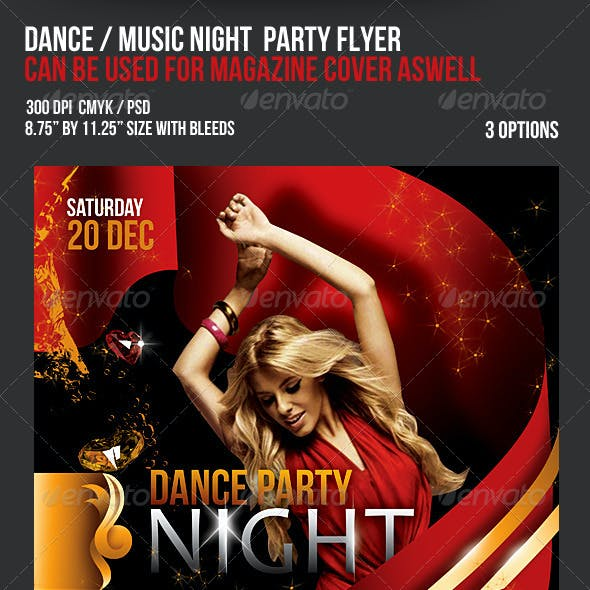Music Dance Party Night Flyer / Magazine Cover -2