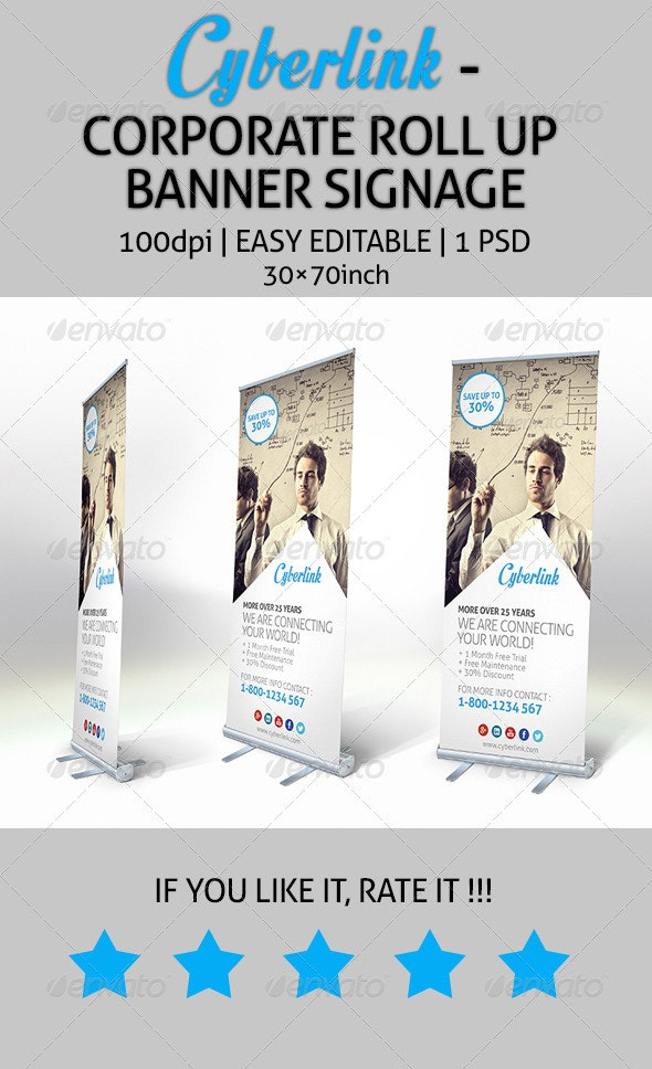 Cyberlink - Corporate Roll Up Banner Signage - Signage Print Templates