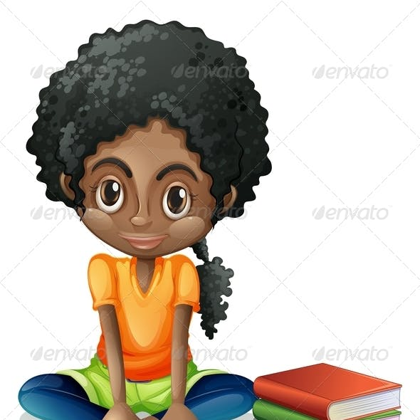 Girl sitting with books