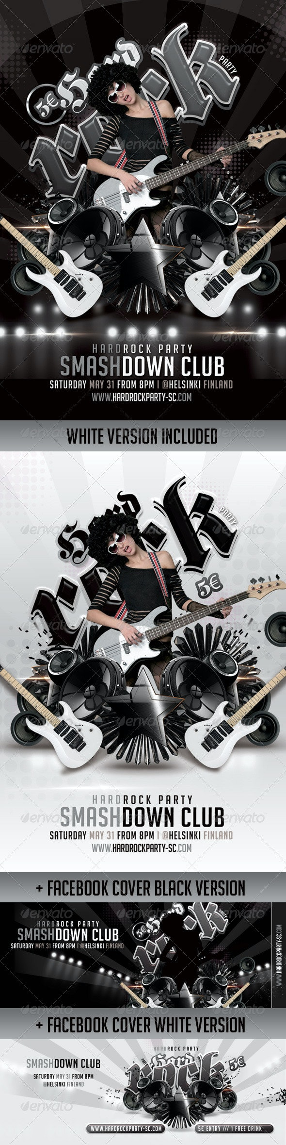 Bundle Flyers+ FB Covers Hard Rock Party In Club - Events Flyers