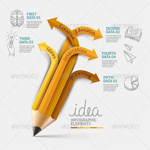 Education Pencil Infographics Step Option - Infographics