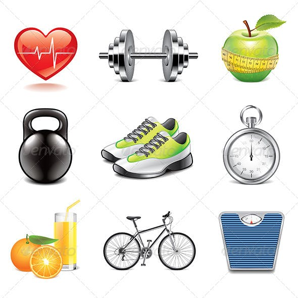 Fitness Icons Photo-Realistic Set