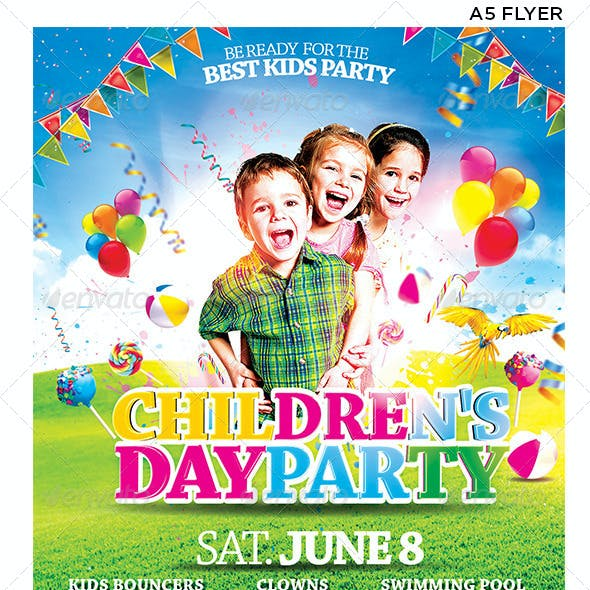 Children's or Kids Party Flyer Facebook Template