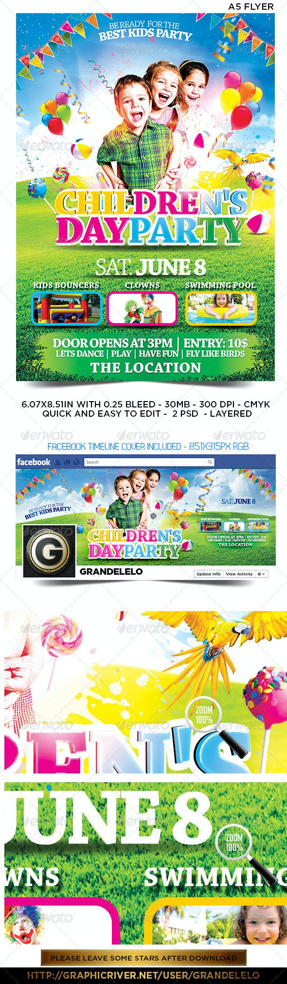 Children's or Kids Party Flyer Facebook Template  - Clubs & Parties Events