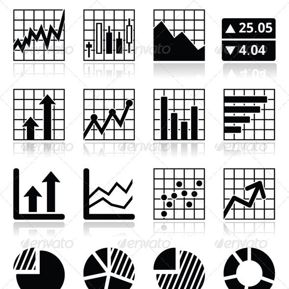Stock Market Analysis Chart and Graph Icons Set