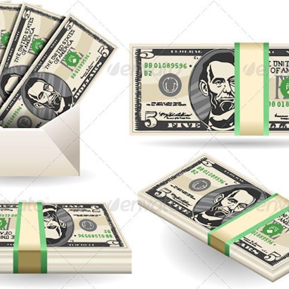 Set of Five Dollars Banknotes