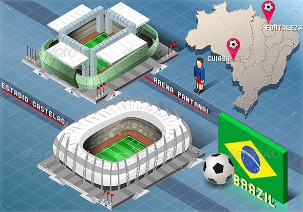 Isometric Stadiums of Cuiaba and Fortaleza