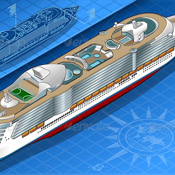 Isometric Cruise Ship in Rear View