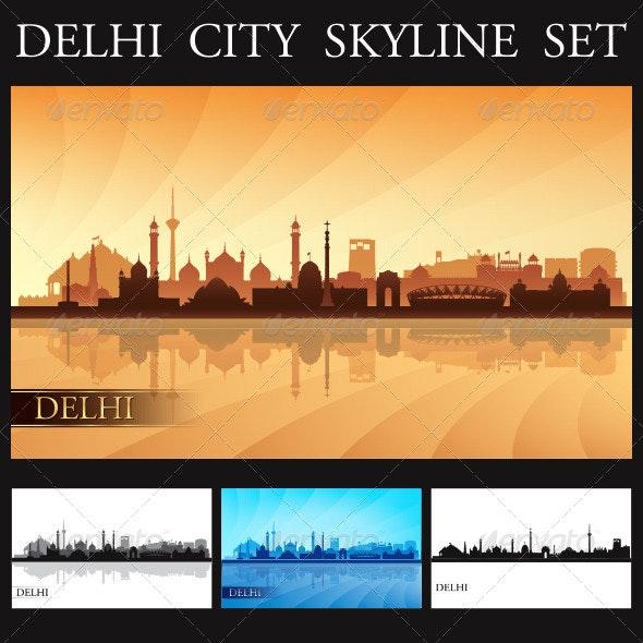Delhi City Skyline Silhouettes Set - Travel Conceptual