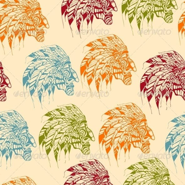 Seamless Pattern with American Indians