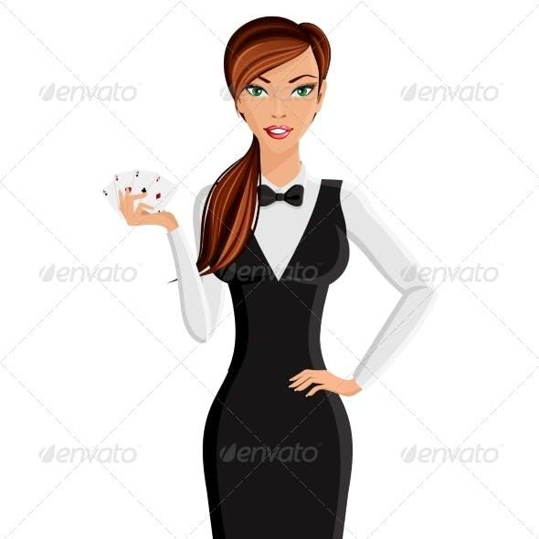 Woman Casino Dealer Portrait