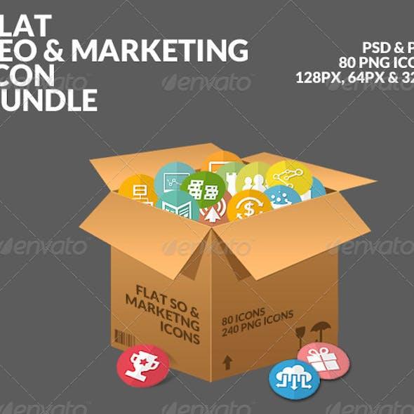 Flat SEO & Marketing Icons Bundle Pack