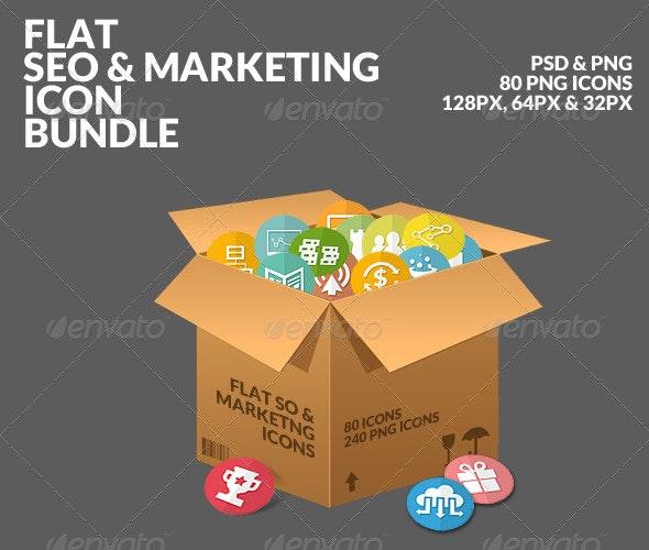 Flat SEO & Marketing Icons Bundle Pack - Business Icons