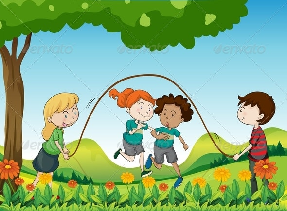 Kids playing under tree
