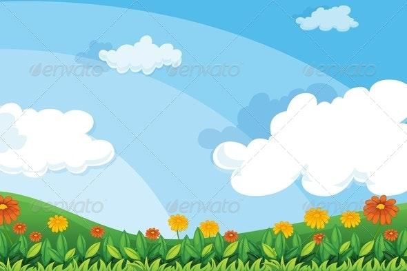 Flowers on hillside