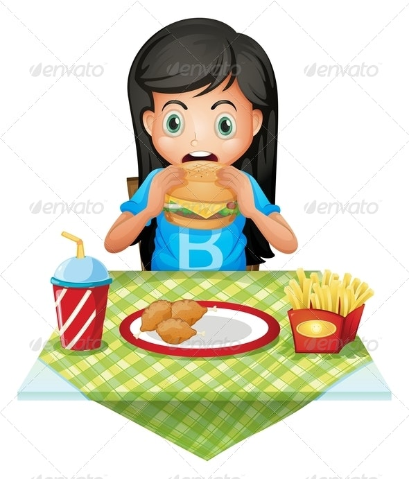 Girl eating at a fast food restaurant
