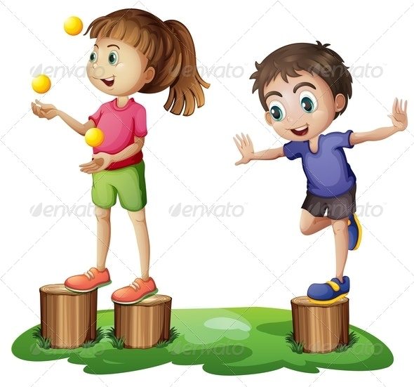 Kids playing on stumps