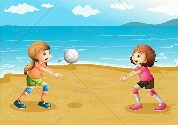 Girls playing volleyball at the beach