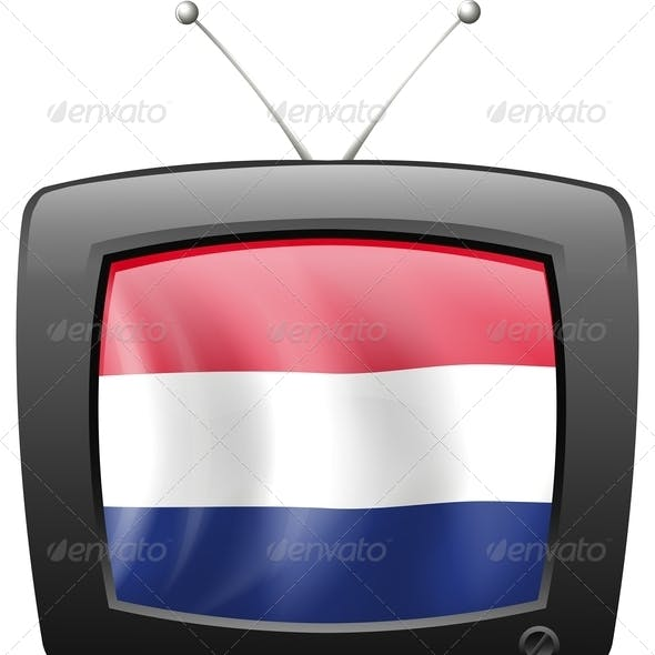Television with the flag of the Netherlands