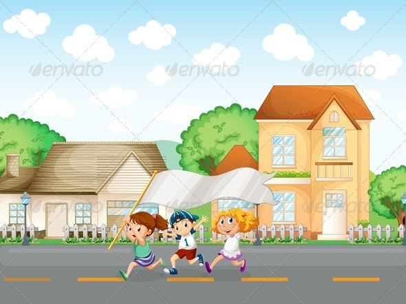Kids running in the street with banner