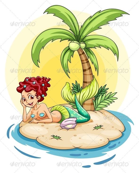 Smiling mermaid on an island