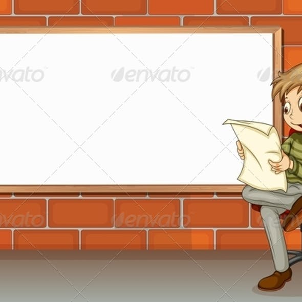 Businessman reading beside empty board