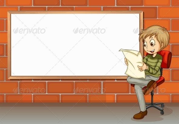 Businessman reading beside empty board - People Characters