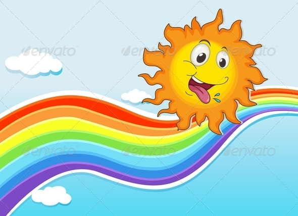 Happy sun and Rainbow