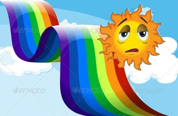 Rainbow beside the sad sun