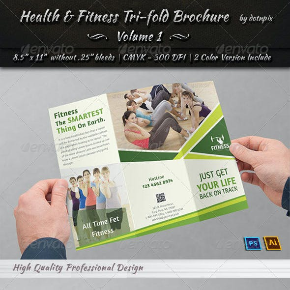 Health & Fitness Tri-Fold Brochure   Volume 1