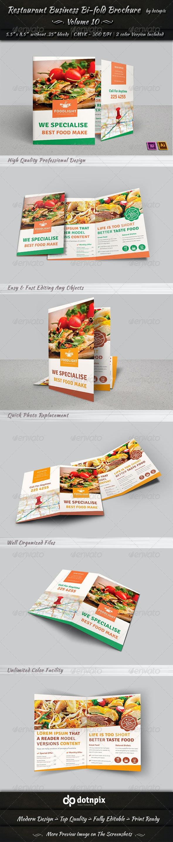 Restaurant Business Bi-Fold Brochure   Volume 10 - Corporate Brochures