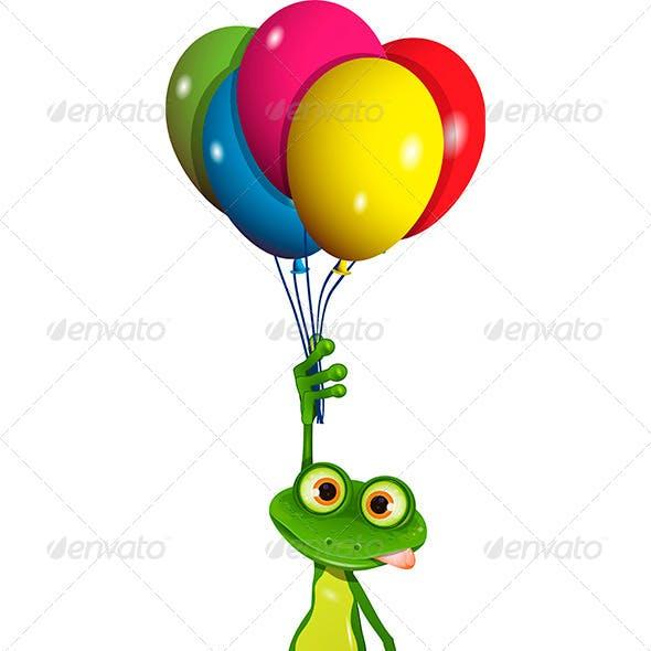 Frog on Balloons