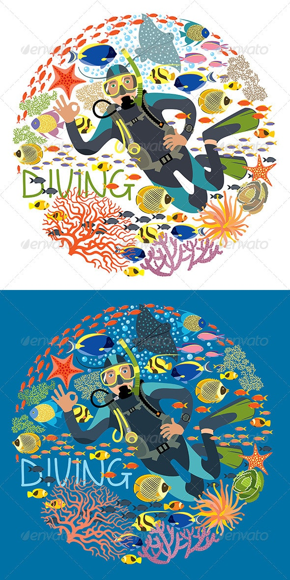 Diver With Underwater Plants And Tropical Fishes - Sports/Activity Conceptual