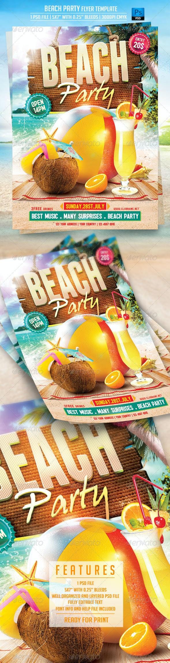 Beach Party Flyer Template - Flyers Print Templates
