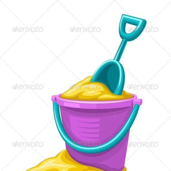 Toy Bucket and Scoop with Sand