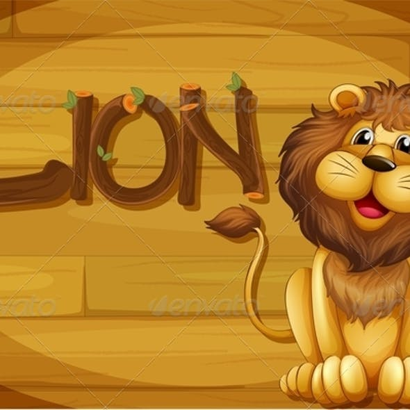 Wooden Frame with Lion