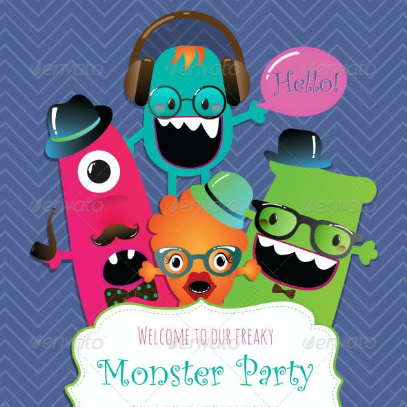 Banners and Greeting Cards with Cute Monsters